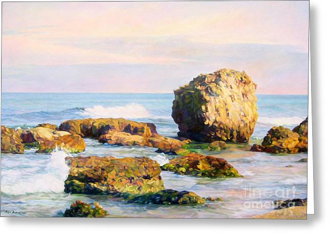 On The Beach Greeting Cards - Stones in the sea Greeting Card by Maya Bukhina