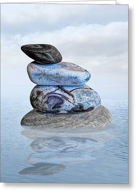 Reflection In Water Greeting Cards - Stones in Water Greeting Card by Gill Billington