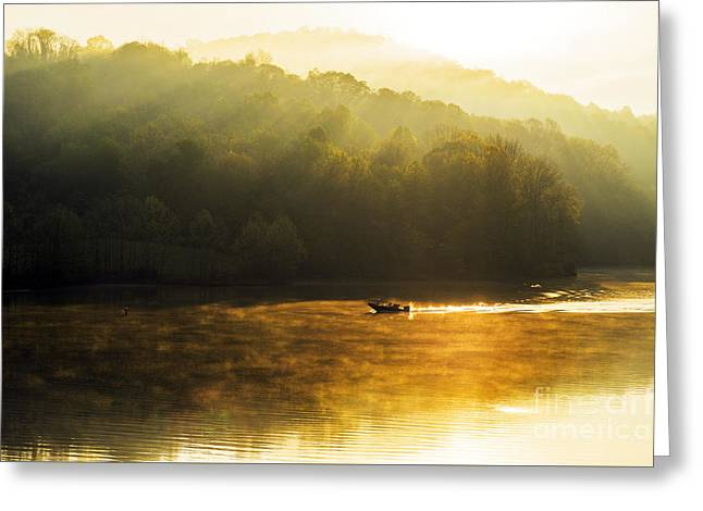 Man-made Lake Greeting Cards - Stonewall Jackson Lake Sunrise Greeting Card by Thomas R Fletcher