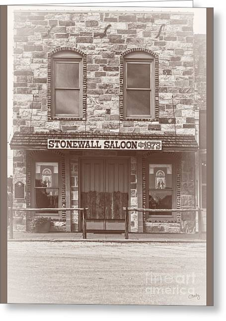 Hitchin Greeting Cards - Stonewall Saloon Greeting Card by Imagery by Charly