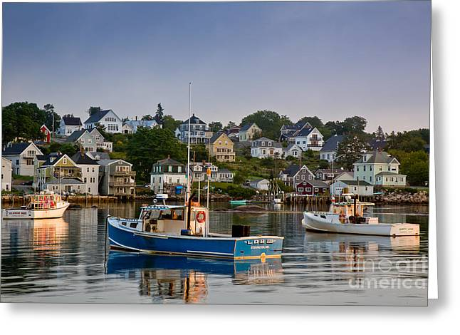 Maine Waterfront Greeting Cards - Stonington Harbor Greeting Card by Susan Cole Kelly