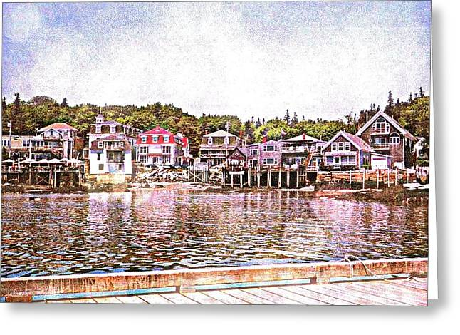 New England Village Greeting Cards - Stonington Maine Greeting Card by Mary Chris Hines
