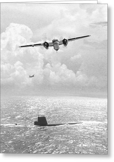 Naval Aviation Greeting Cards - Stoof over Sub Greeting Card by Mike Ray