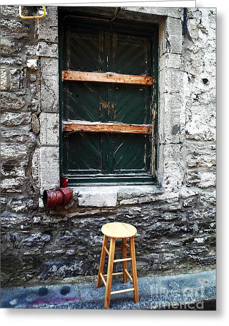 Old Montreal Greeting Cards - Stool Greeting Card by John Rizzuto