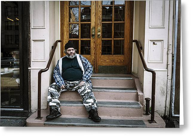 African-americans Greeting Cards - Stoop Sitting 8th Avenue New York City 2011 Greeting Card by Kenneth Ortiz