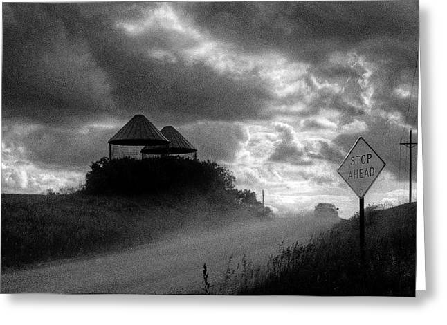 Film Noir Greeting Cards - Stop Ahead - Country Road - Sign Greeting Card by Nikolyn McDonald