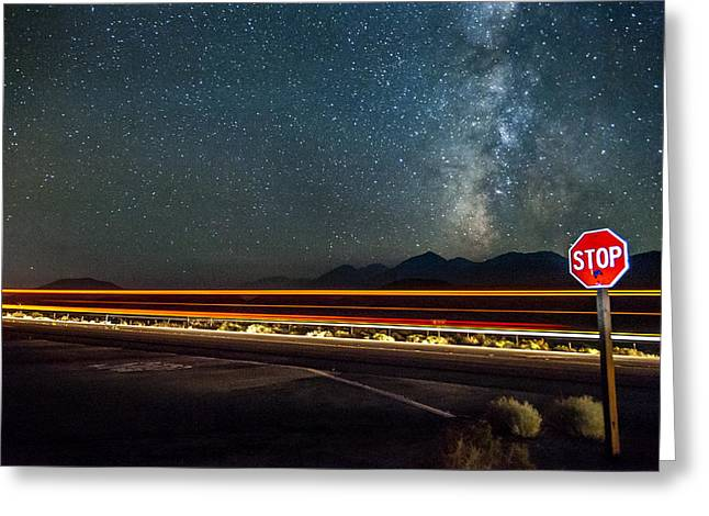 Mountain Road Greeting Cards - Stop Before Crossing Greeting Card by Cat Connor