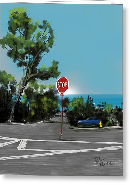 Seaside Digital Greeting Cards - Stop Greeting Card by Russell Pierce