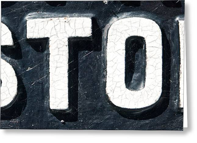Stop Sign Greeting Card by Tom Gowanlock