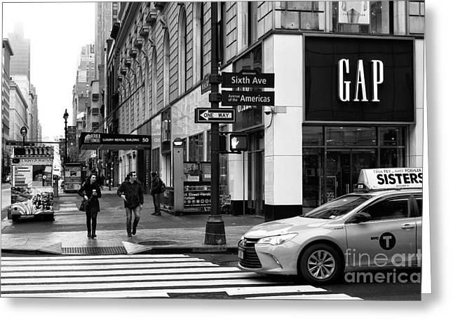 Stopping On 6th Avenue Greeting Card by John Rizzuto