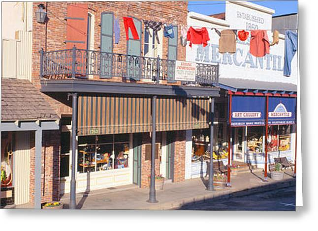 Store Fronts, Angels Camp, California Greeting Card by Panoramic Images