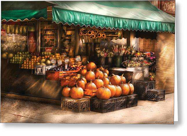 Apple Crates Greeting Cards - Store - Hoboken NJ - The Fruit Market Greeting Card by Mike Savad