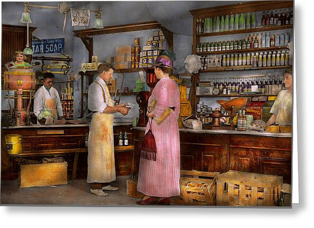 Grocery Store Greeting Cards - Store - In a general store 1917 Greeting Card by Mike Savad