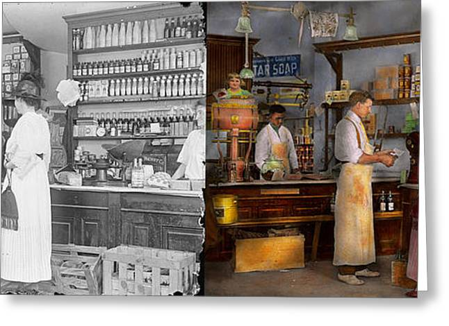 Store - In A General Store 1917 Side By Side Greeting Card by Mike Savad
