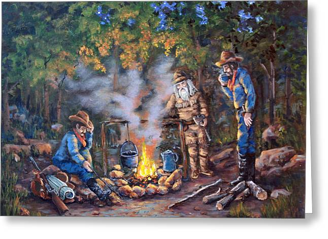 Campfire Stories Greeting Cards - Stories Around the Fire Greeting Card by Julie Townsend