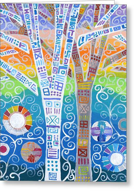 Stories On Trees Greeting Card by Jeremy Aiyadurai