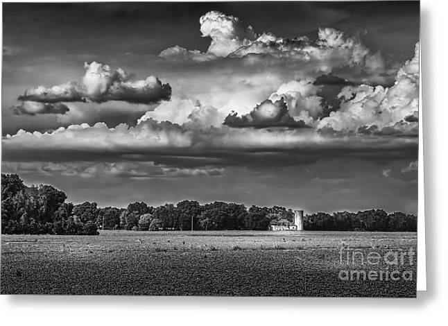 Fence Line Greeting Cards - Storm A Coming-BW Greeting Card by Marvin Spates