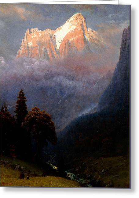 Mountain Valley Greeting Cards - Storm Among the Alps Greeting Card by Albert Bierstadt