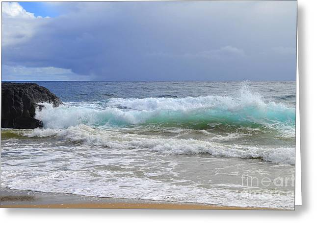 Beach Greeting Cards - Storm and High Tide Coming Ashore Greeting Card by Mary Deal