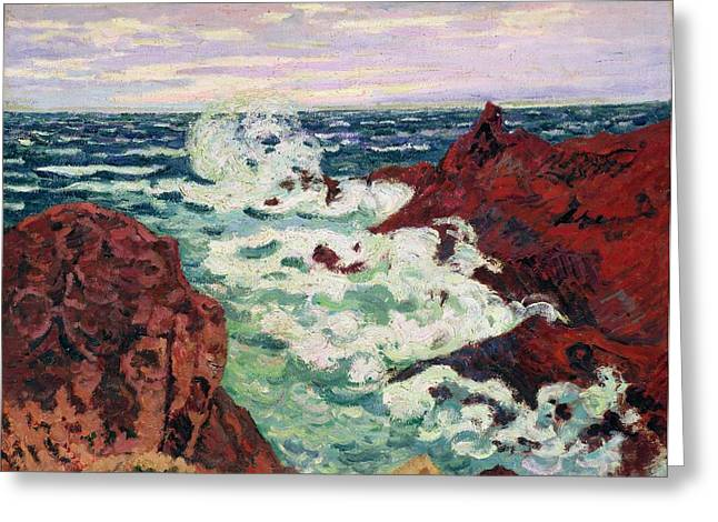 Guillaumin; Jean Baptiste Armand (1841-1927) Greeting Cards - Storm at Agay Greeting Card by Jean Baptiste Armand Guillaumin