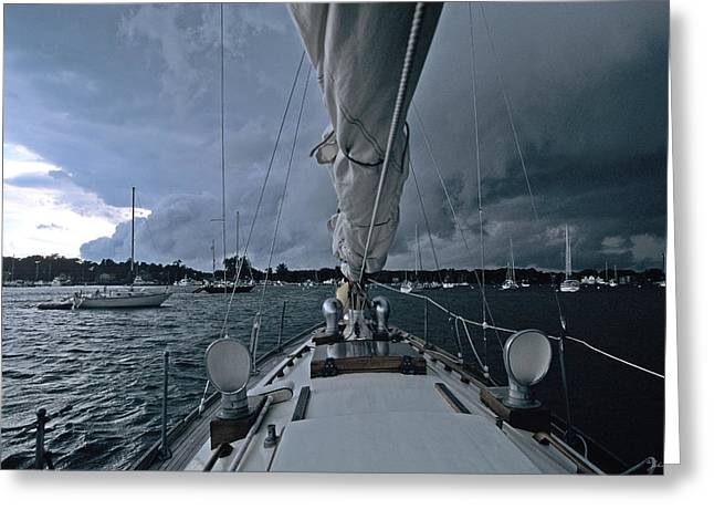 Best Sellers -  - Sailboats In Harbor Greeting Cards - Storm at Put-in-Bay Greeting Card by John Harmon