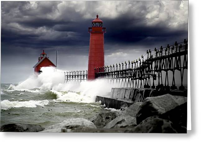 Randy Greeting Cards - Storm at the Grand Haven Lighthouse Greeting Card by Randall Nyhof