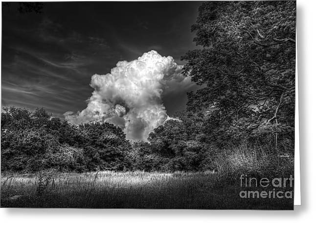 Fence Line Greeting Cards - Storm Beyond The Meadow Greeting Card by Marvin Spates