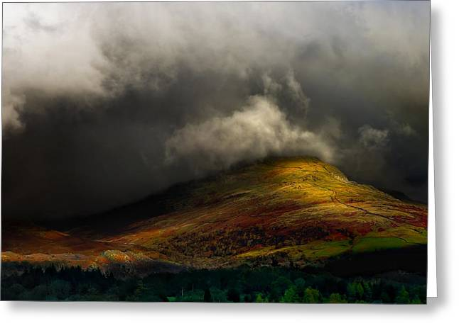 Dappled Light Greeting Cards - Storm Brewing Over Hawkshead Greeting Card by Meirion Matthias