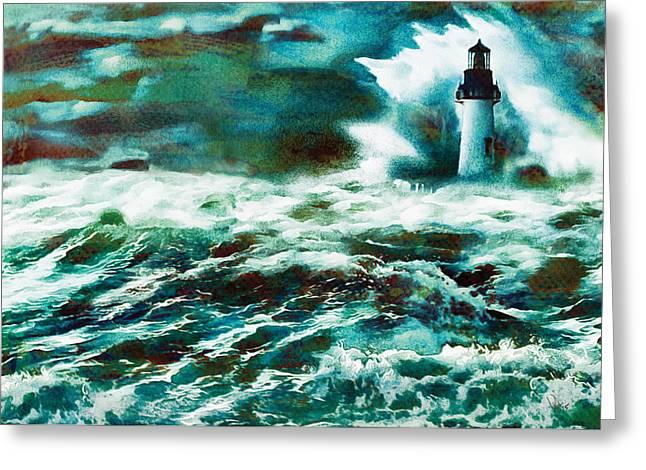 Sailing Ship Greeting Cards - Storm Brewing Greeting Card by Vya Artist