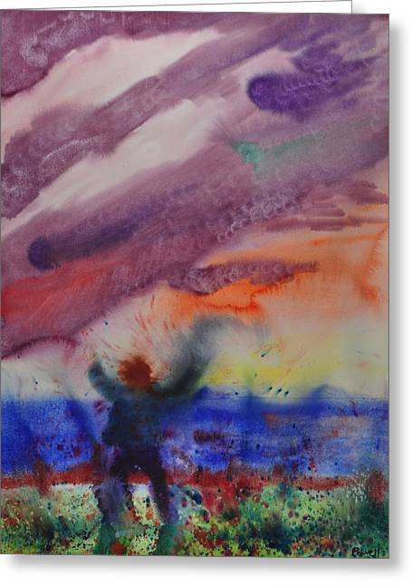 Wet Into Wet Watercolor Greeting Cards - Storm Bringer Greeting Card by Brook Powell