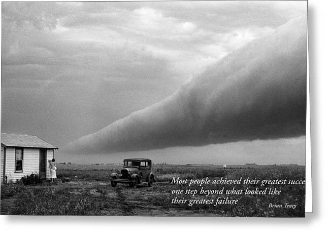 Storm Prints Greeting Cards - Storm Cloud with Inspirational Text Greeting Card by Donald  Erickson