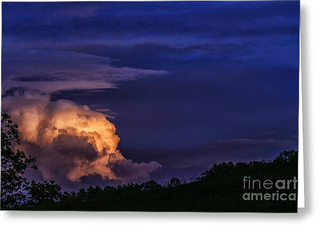 Summer Storm Greeting Cards - Storm Clouds at Night Greeting Card by Thomas R Fletcher