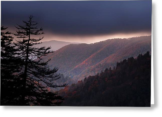 Great Smoky Mountains Greeting Cards - Storm Clouds at Sunrise Greeting Card by Andrew Soundarajan