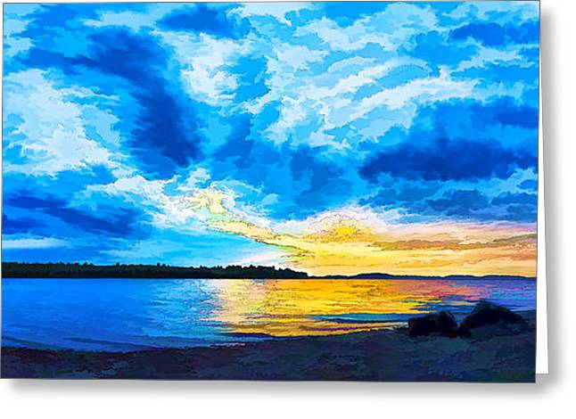 Stormy Weather Greeting Cards - Storm Clouds at Sunset 1 - Painterly Greeting Card by Bill Caldwell -        ABeautifulSky Photography
