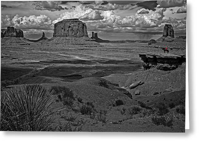 Monument Pyrography Greeting Cards - Storm Clouds in Monument Valley Greeting Card by Rick Strobaugh