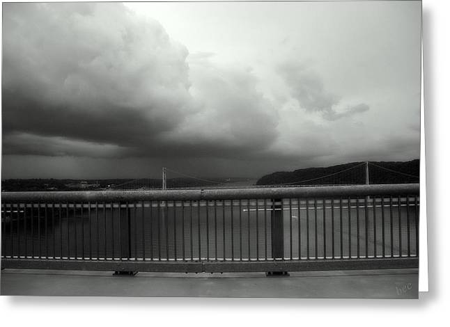 Mid-span Greeting Cards - Storm Clouds On The Hudson Greeting Card by Bruce Carpenter