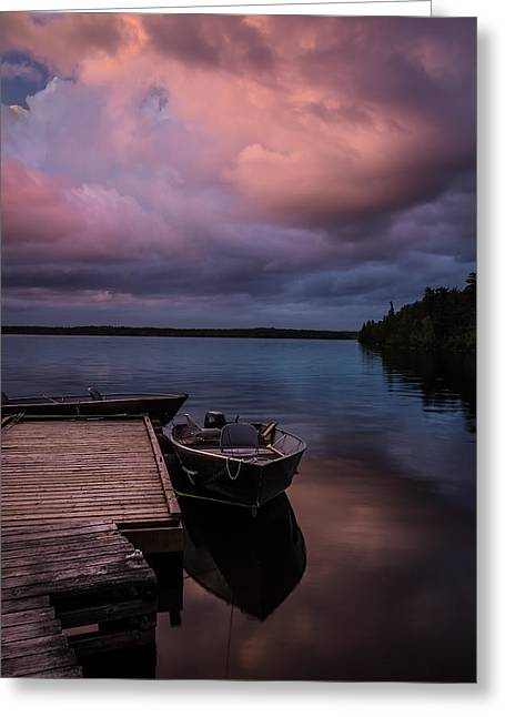 Boat Pyrography Greeting Cards - Storm Clouds over Boat Dock Greeting Card by Rick Strobaugh