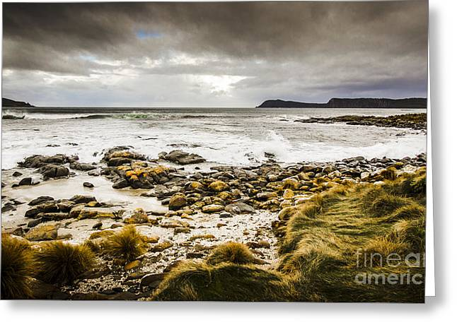 Storm Clouds Over Cloudy Bay Greeting Card by Jorgo Photography - Wall Art Gallery