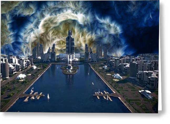 Mario Carini Greeting Cards - Storm Clouds Over Concept City Greeting Card by Mario Carini