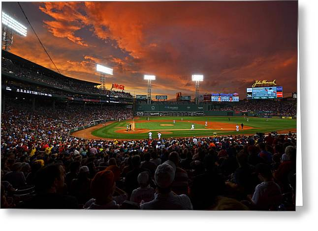 Boston Ma Greeting Cards - Storm clouds over Fenway Park Greeting Card by Toby McGuire