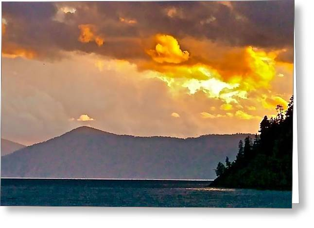 Lake Pend Oreille Greeting Cards - Storm Clouds Over Lake Pend Oreille  Greeting Card by Brent Sisson