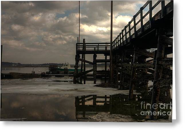 Maine Greeting Cards - Storm Clouds Over Pine Point Greeting Card by David Bishop