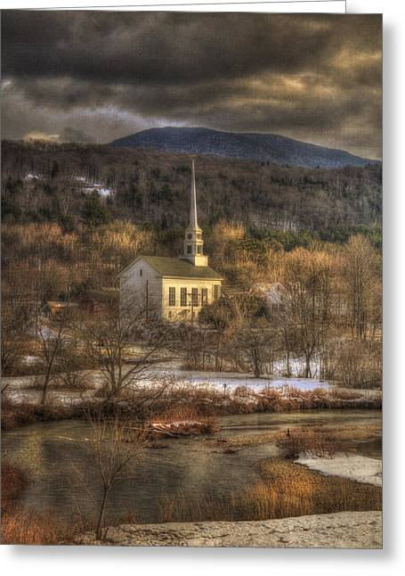 New England Snow Scene Greeting Cards - Storm Clouds over White Church - Stowe Vermont Greeting Card by Joann Vitali