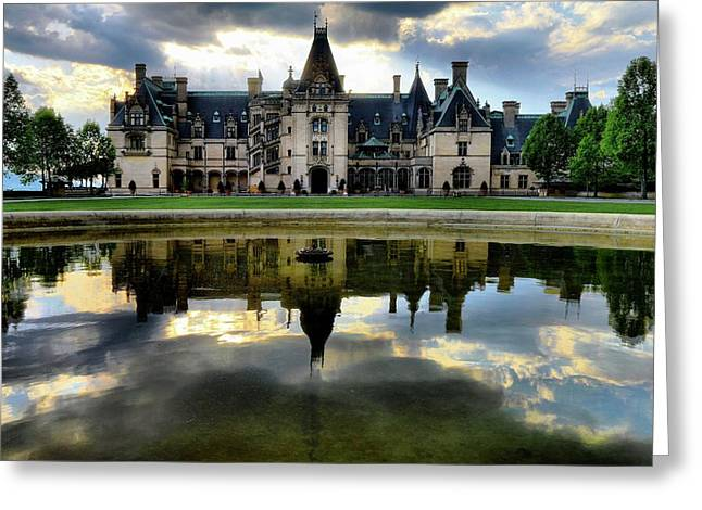 Storm Clouds Roll Over Biltmore As Sun  Sets Greeting Card by Carol R Montoya