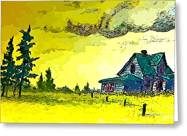 Abandoned Houses Drawings Greeting Cards - Storm Coming Greeting Card by John Malone