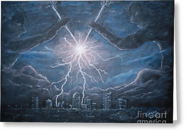 The Lightning Man Paintings Greeting Cards - Storm Games Greeting Card by Marlene Kinser Bell