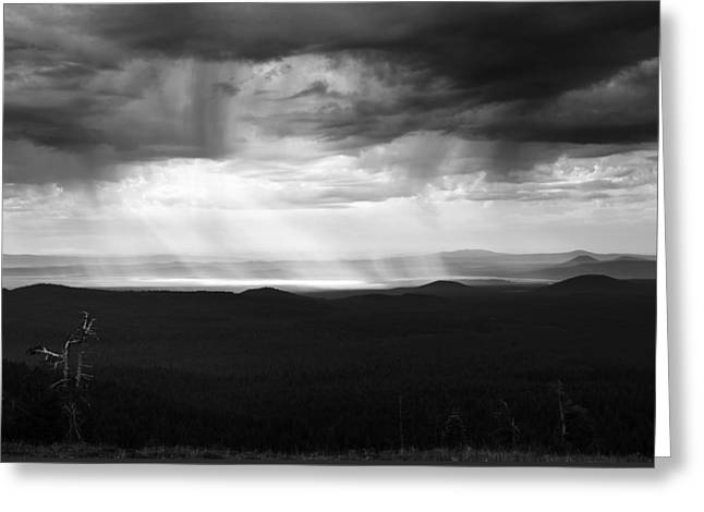 Crater Lake Artwork Greeting Cards - Storm in Monochrome Greeting Card by Joseph S Giacalone