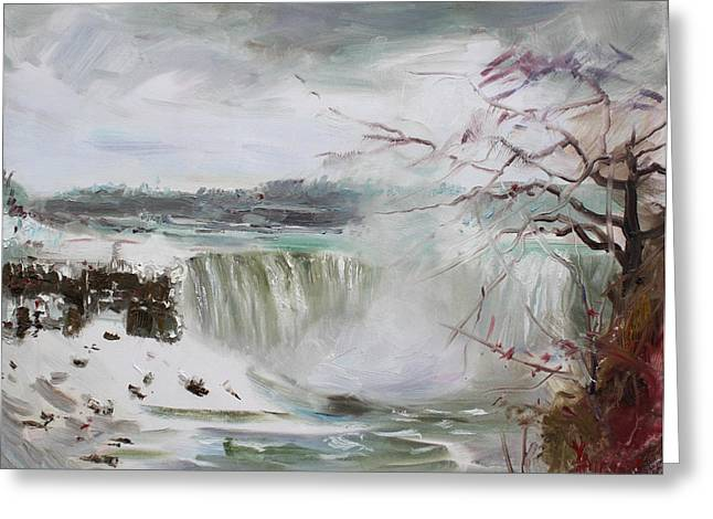 Storm Landscape Greeting Cards - Storm in Niagara Falls  Greeting Card by Ylli Haruni