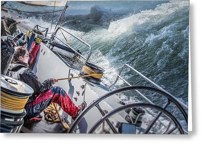 Sailing Photographs Greeting Cards - Storm In San Francisco Bay Greeting Card by Michael Delman
