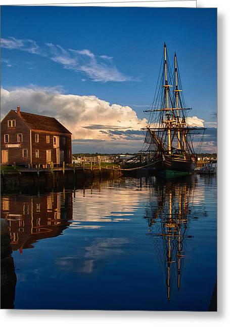 Tall Ship Greeting Cards - Storm leaves reflection behind Greeting Card by Jeff Folger
